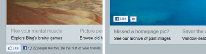 Bing Changes the position of the Facebook Like Button